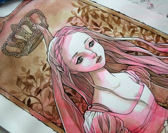 Watercolor Illustration - Doll Princess - BJD - Anime Style - Fantasy - Fairytale - ORIGINAL Ink and Watercolor Illustration