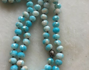 Knotted long necklace, Blue Chalcedony Long necklace, Pearl Knotted Long Necklace