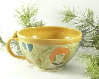 Handmade soup bowl with handle soup mug Latte cup with owl, Cappuccino Mug, Holds 24 ounces / Decorative Dish 636