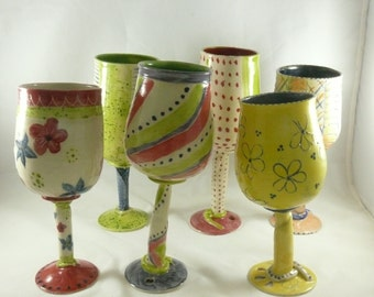 Ceramic Wine Glass, Water Goblet, Pottery Chalice, Quirky Stemmed Glasses, Wedding Wine Glass, Anniversary Flute