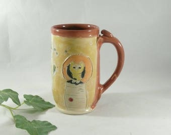 Gifts for Teachers Ceramic Coffee Mug, Pottery Cup Tea Mug, Clay Large Mug Travel Mug, Unique Coffee Mug, Tankard, Beer Stein Dinnerware 766