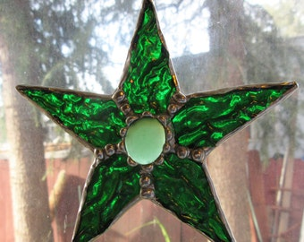 Star Ornament or Suncatcher of Iridescent Green Glass with Frosted Green Glass Glob