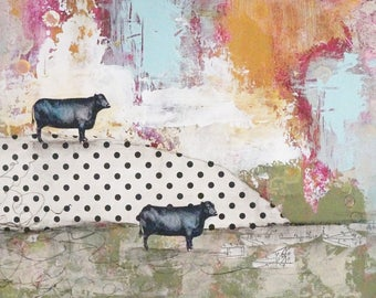 Cow Painting, Mixed Media Collage Painting, Original Farmhouse Decor or Art for the Kitchen