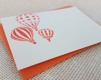 Letterpress Enclosure Card - Hot Air Balloons