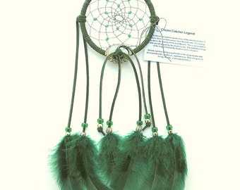 Forest Green Dream Catcher, Turkey Flat Feathers