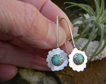 Dainty Whimsical Handcut sterling silver earrings with Natural Australian Turquoise