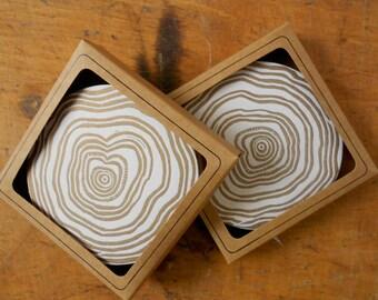 Linocut Tree Ring Coasters