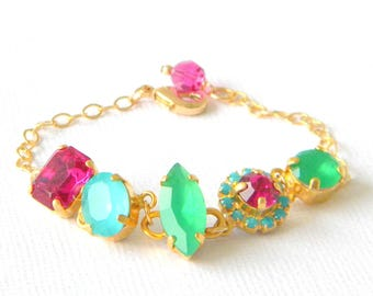 Fuschia Pink, Aqua, Emerald Bracelet