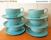 THINKSPRING 6 vintage aqua speckled melmac cup and saucers