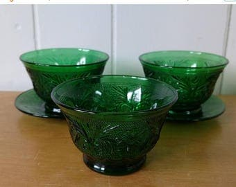 NEW ROOF SALE 5 piece vintage green glass set
