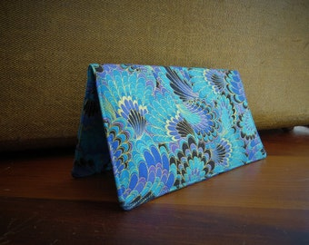 Checkbook Cover Cotton Cloth Blues Purples Top Tear Ready To Ship