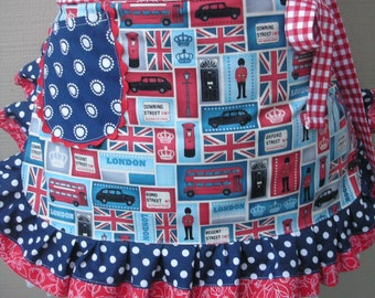 Aprons - I Love London Aprons - Red White Blue Aprons - Downing Street Apron - London Inspired Aprons - Annies Attic Aprons - Etsy Aprons -