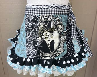 Womens  Aprons - Tula Pink Fabric - Goth Aprons - Night Shade - Coven Aprons - Vapor Apron - Etsy Aprons - Annies Attic Aprons - Crow Fabric