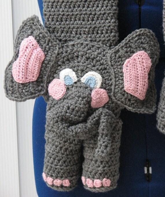 Crochet Pattern - Elephant Scarf Crochet Pattern - Elephant Pattern - Scarf P...