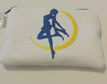 Sailor Moon Silhouette Zippered WHITE COIN Wallet Pouch Anime Cosplay