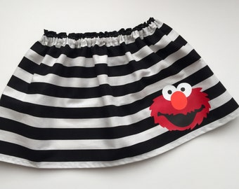 Boutique... ELMO striped black and white SKIRT...Sesame street inspired