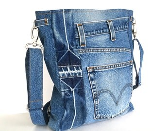 Convertible backpack crossbody bag,Recycled denim backpack,Blue jeans cross over bag ,up cycled shoulder bag for men and women,Shop Canada