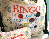 Bingo Bag and Change Purse Set - Multi Function Drawstring Bag - Fabric Bingo Tote Bag with Matching Small Zippered Coin Purse - Polka Dot