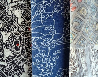 Chirimen Silk Kimono Set of 3, Black Blue Gray, Vintage Recycled Asian Textile, Craft Supply, Quilting Doll making etc.