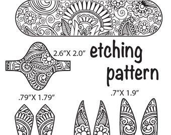 Combo Digital Pattern for Etching Floral Cuff, Earring, Ring Download -dp-nz-4096