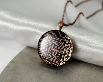 Copper Circuit Board Necklace, Wearable Technology, Engineer Gift, Geeky Recycled Computer Jewelry, Motherboard Necklace, Gift for Her