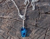Blue Mirrored Coffin and Seance Hands Y Necklace by Ugly Shyla rosary style necklace -pastel goth - goth jewelry