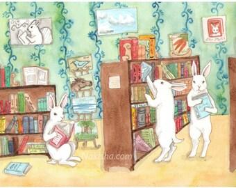 RESERVED for LS - Original Art - Book Store - Watercolor Rabbit Painting