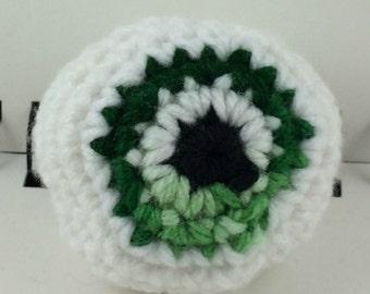 Crocheted Eyeball Hacky Sack - Mottled Green and White