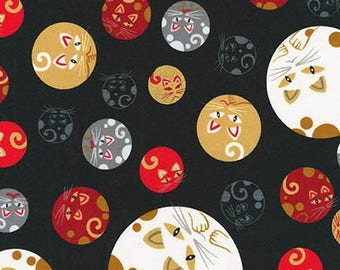 Robert Kaufman Whiskers and Tails Round Cats with Metalic SRKM-16986-2 BLACK Woven Cotton Fabric - 1 Yard