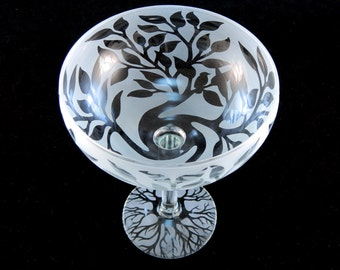 Tree of Life Margarita Glass - Etched Glassware - Custom Made to Order