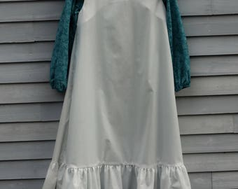 Girl's , size 12/14 Pioneer/Prairie costume, teal green and white.