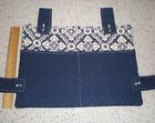 Navy Blue Print and Solid Walker Bag
