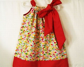 Pillowcase Dress, REd Multi Color Dress, Girls Dress, Girls Dresses, Girls Clothing, Baby Toddler Big Girls Dress, Made in the USA, #45P