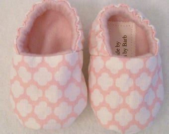 Baby Girls Pink white Shoes, Soft Fabric shoes, Handmade, Baby Shower Gift, Made in the USA, #30