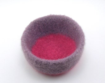 Felted wool bowl - wool felt bowl - office decor - wisteria and pink
