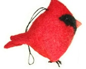 Cardinal, needle felted wool ornament