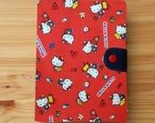 Fabric Fauxdori Travelers Notebook cat  Kawaii Fabric Black  internal pockets pen loop snap closer