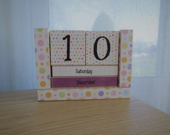 Wooden Perpetual Block Calendar - Month and Day - Colorful Pastel Confetti Polka Dots