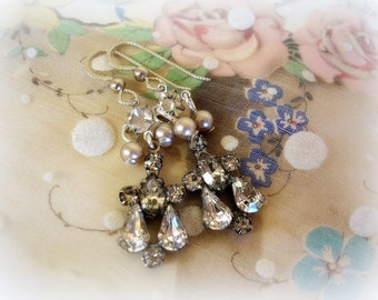 bellissimo one of a kind sweet petites vintage assemblage mid century rhinestone and pearl earrings short and lightweight sterling ear wires