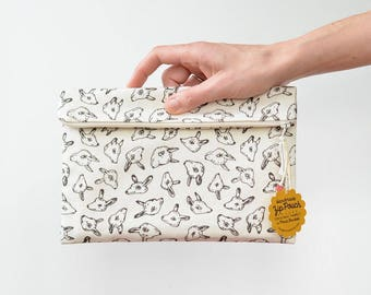 Quirky Animal Heads Large Flat Fold-Over Zipper Pouch Clutch | Original Fabric Design | Cream/Brown