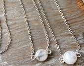 Tiny Sterling Silver Bezeled Moonstone Layering Necklace
