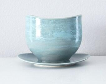 Handmade Turquoise Blue Planter with Drain Hole and Catch Basin Plate, Pottery Planter Porcelain, Ceramic Planter, Windowsill Planter Pot