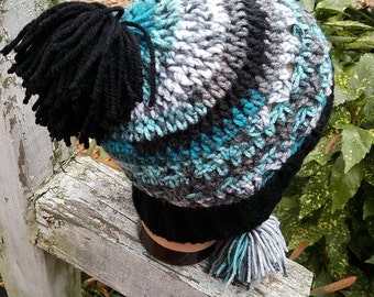 Womens Earflap hat with pom poms Ready to ship