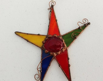 Stained Glass Star with copper wire - Gift for boy - Primary colors - gift idea - suncatcher - hostess gift