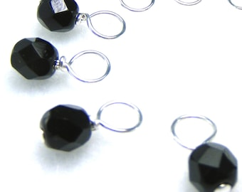 Snag-Free Stitch Markers for Knitting or Crochet, Black Currant, Choose Your Size, Set of 10, Customizable with Removable Hooks or Rings