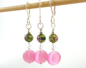 Pink Cloisonne Stitch Marker Set - Customizable for Knitting or Crochet