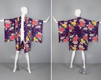 R E S E R V E D silk kimono / silk jacket / haori / floral / JARDINIERE vintage silk kimono