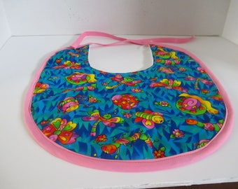 Baby bib, larger size, bright colors, girls, baby shower, pinks, blues, greens, oranges,  infants, newborns, drooling, spit up, feeding