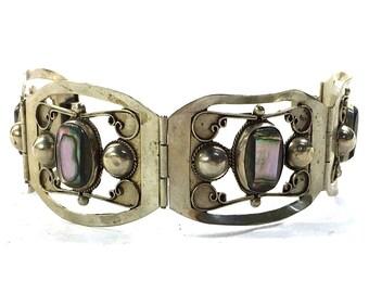 SALE Sterling Silver Link Bracelet with Abalone / Vintage 1970s Mexican Silver Boho Hippie Cuff Bracelet