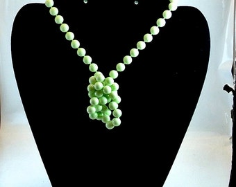Lime Bead Necklace, Vintage Green Bead Necklace, 1970 Lime Necklace, Single Strand Lime Necklace, Gift For Her
